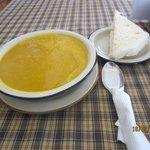 Pumpkin soup in the restaurant
