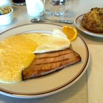 Cheese grits, ham and eggs. Yum