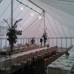 Inside the marquee at the Crown, with tables for approx 120. We take responsibility for the deco