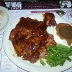 BBQ ribs, Mashed Potatoes & Gravy, Green Beans & Bread