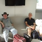 Dad and keith relaxing in the bar area next to reception