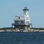 A nearby lighthouse between Greenport and Orient Harbor
