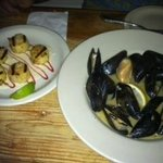 Grilled scallops and mussels