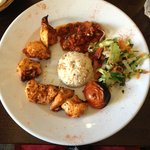 Chicken shish with rice, salad and wonderful Turkish salsa