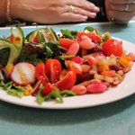 Leafy side salad AND bean salad. YUM yum.