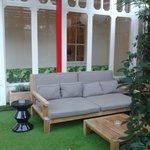The terrace's sofa