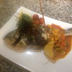 Fresh whole chargrilled sea bream with a piccante salsa