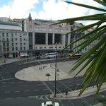 View over Restauradores Square (aerobus stop on far side)