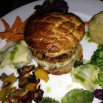 Eggplant, puff pastry, potato and veggies at Emmanuel's