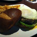 Pretzel Burger with fries.