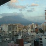 View of Sakurajima from hotel room