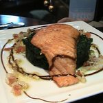Salmon on Spinach Cake