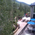 View of mountains and pool area