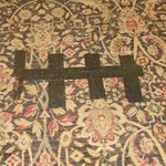 This is the patch in the carpeting in the lobby -- what a great first impression!