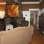 Stone fireplace in lounge