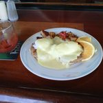 crab cakes eggs benedict with a nice hollandaise