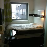 Double bed (best for one person), TV and table
