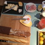 Wonderful cheeses, breads, pastry, coffee, juice