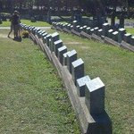 All Grave stones are in the shape of a bow for the Titanic victims