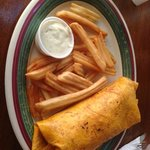 Chipotle wrap and fries with ranch