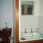 Our toilet and sink in room