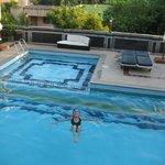 Enjoying the lovely swimming pool