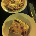 Top; Fusilli with pumpkin, red onion and red lettuce Bottom: Baked Polenta with beschamella and
