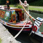 Traditional canal narrowboat at Cromford