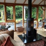 Conservatory area with the wood heater (very effective)