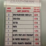 Hotel prices of drinks