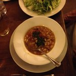 Bean soup with pesto and Caesar salad