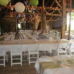 Wedding dining set up in barn