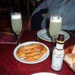 Pisco Sour and Cheese 'empanadas'