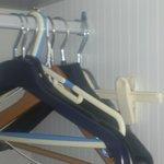 Mixed hangers in wardrobe...