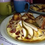 Pear Gorganzola & Bacon Omelette