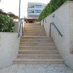steps down to beach/bar/restaurant