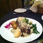 Lovely Steak with Creamy Gorgonzola Sauce and Shrimp