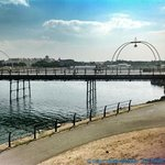 A view of Southport Pier across The Marine Lake