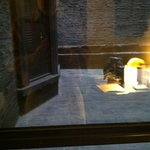 View from window with reflection of desk lamp