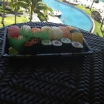 Sushi from ABC on the veranda of the  room