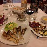 Grilled Sardines with grilled local vegetables.