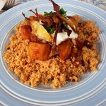 One of The blue plates specials, a tasty Sicilian stew with cous cous,