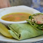 Crab & Lobster Wrap with Chicken Soup - YUM!