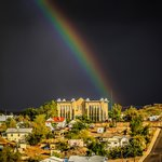 Rainy day rainbow over Noftsger Hill Inn (photo courtesy Jim Lindstrom)