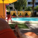 "Relaxing in a cabana by the ""Calma Pool"""