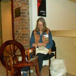 Honorary Staff Member, Kate's spinning demo. Kate was originally a teacher in the U.S.