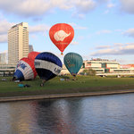 Across River View of Radisson Hot Air Balloons and Cathedral