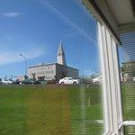 corner window view of church