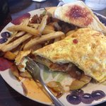 Awesome apple, cheddar, and onion omelette. Ohhh so good!