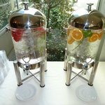 flavored water in the lobby